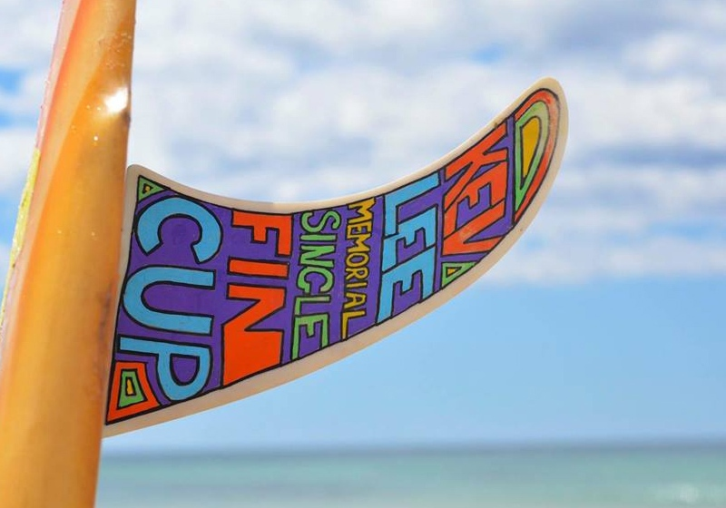 kev lee single fin surf comp sign