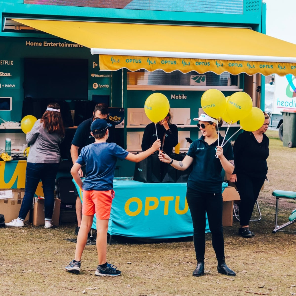 Optus promotional stall