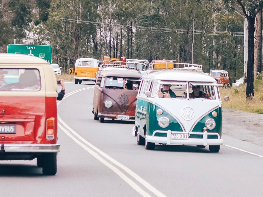 kombi convoy driving down road